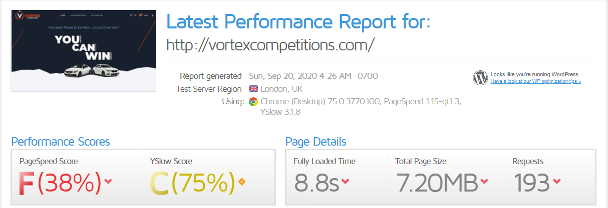 Wordpress Performance Optimisation Case Study (Before)